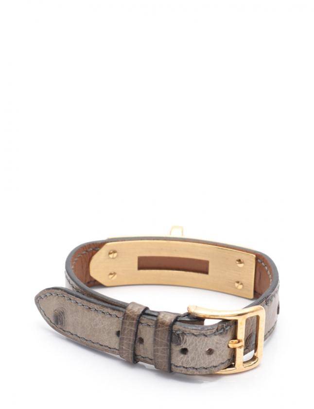 sale retailer 4dab6 5a465 エルメス HERMES ブレスレット ケリーウォッチ用 腕時計 替えベルト ブレスレット グレー オーストリッチ レディース