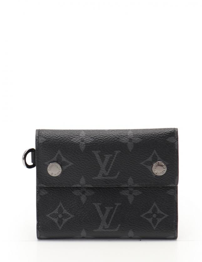 4ccdbbe68ecd ルイヴィトン LOUIS VUITTON 三つ折り財布 チェーンコンパクトウォレット モノグラムエクリプス 黒 小物 PVC M63510 メンズ