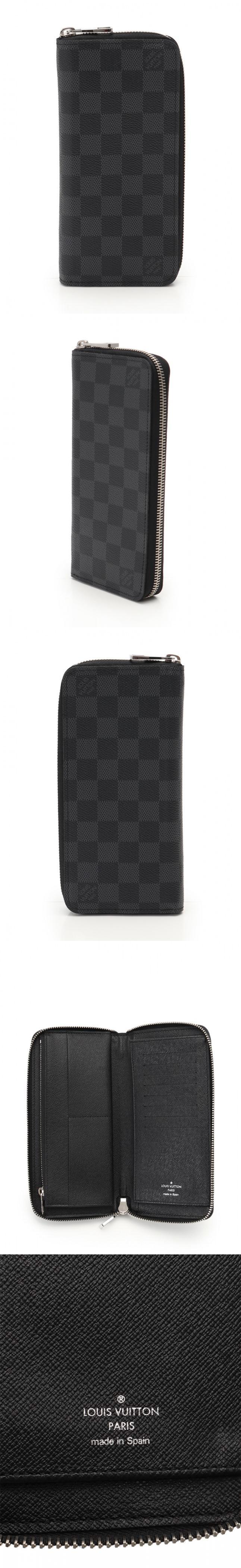 ラウンドファスナー長財布 ジッピーウォレット ヴェルティカル ダミエグラフィット 黒 小物 PVC N63095