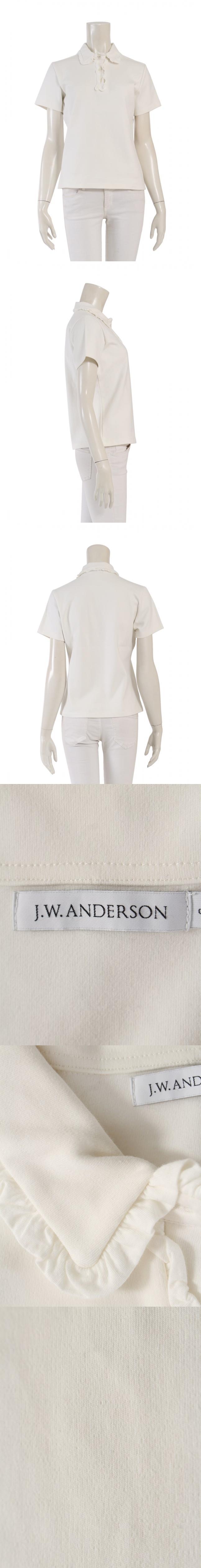 ポロシャツ 白 S トップス 半袖 無地 コットン フリル