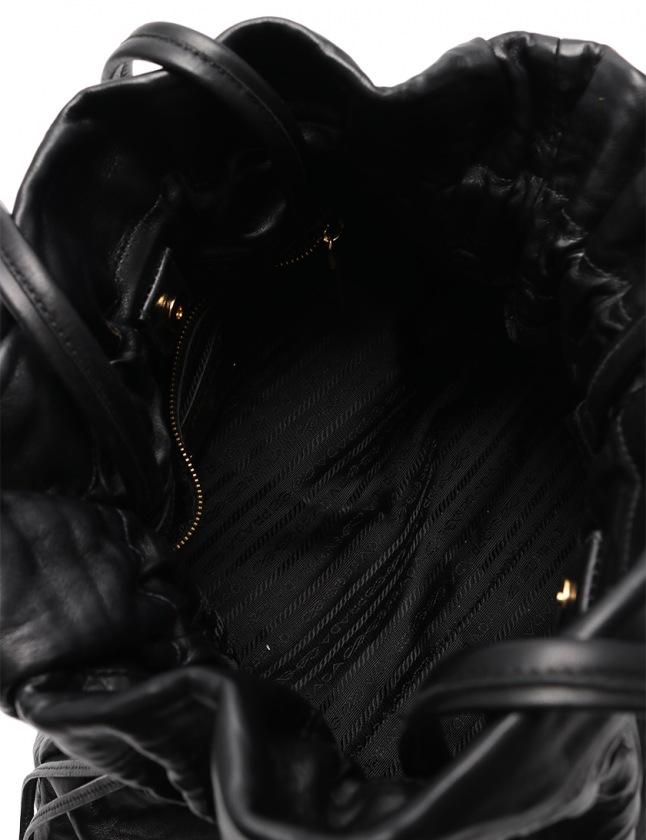 プラダ PRADA トートバッグ 黒 BN1757 ナッパレザー 巾着 NAPPA ANTIQUE レディース