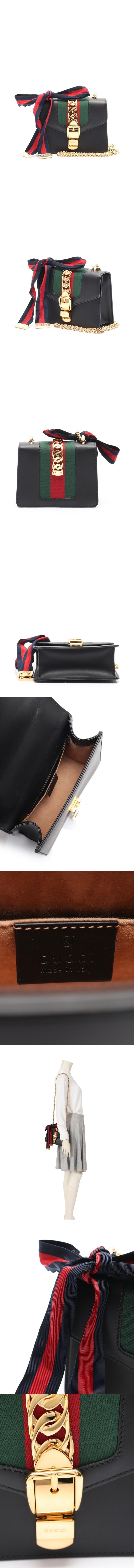 チェーンショルダーバッグ ポシェット シルヴィ ウェブライン 黒 緑 赤 ネイビー ゴールド 431666 レザー キャンバス