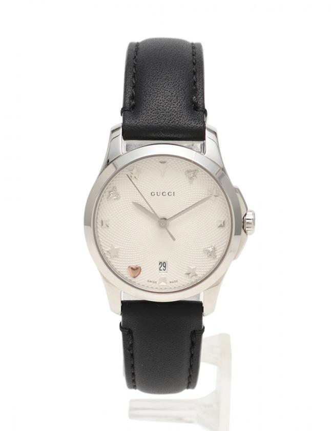 meet 0cca5 6f9fc グッチ GUCCI 腕時計 Gタイムレス ビー レディース シルバー 黒 YA126574 126.5 SS レザー 白文字盤 レディース