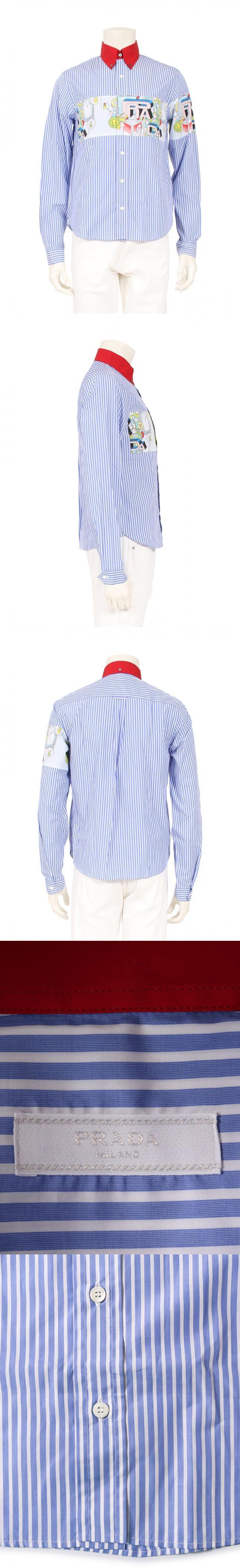 シャツ カジュアルシャツ 水色 白 赤 マルチカラー XS トップス 長袖 ストライプ コミックプリント コットン