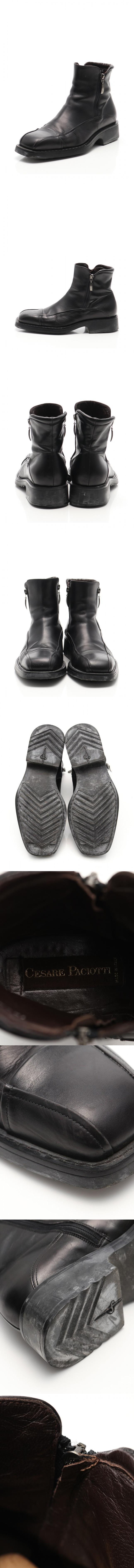 ショートブーツ 黒 6.5 シューズ 25.5cm レザー サイドジップ