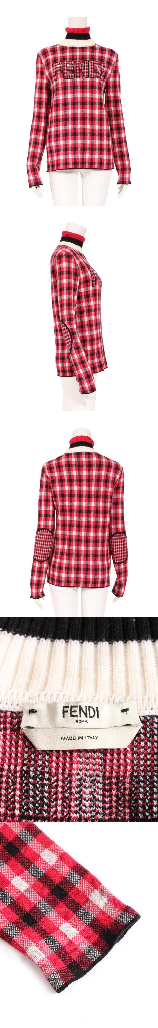 ニット セーター プルオーバー ロゴ 赤 黒 アイボリー 40 トップス 長袖 タートルネック チェック S FAE144 ウール