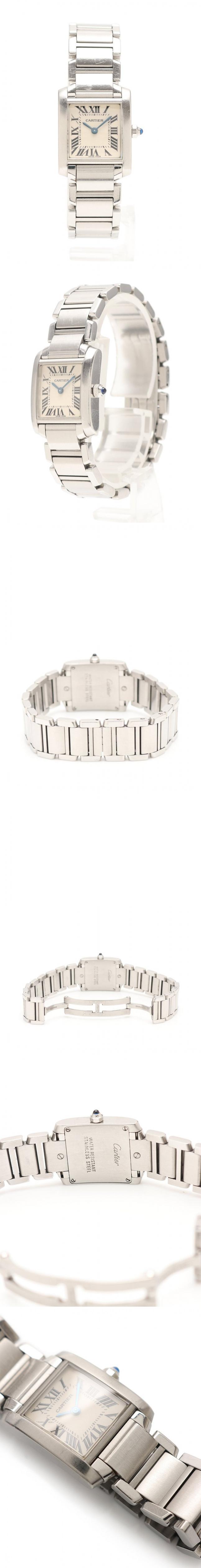 腕時計 クオーツ タンクフランセーズ SM レディース シルバー W51008Q3 SS 白文字盤