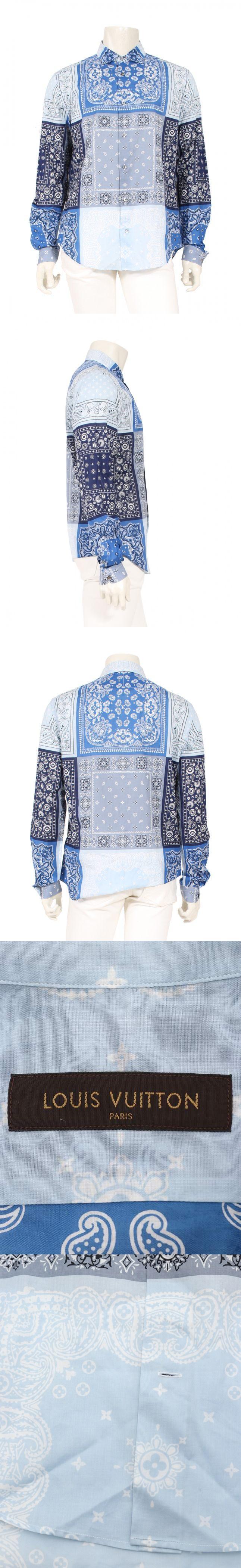 シャツ 青 水色 XL トップス 長袖 ペイズリー柄 コットン バンダナ
