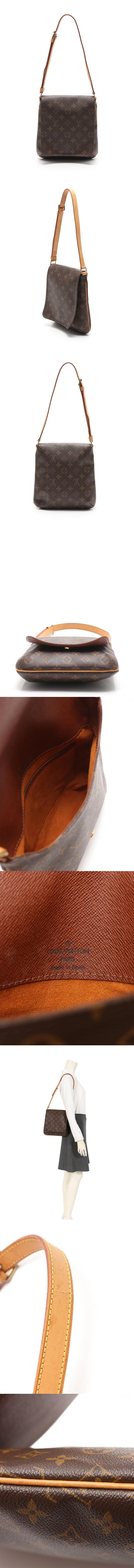 ショルダーバッグ ポシェット ミュゼットサルサ ショートストラップ モノグラム 茶 M51258 PVC レザー
