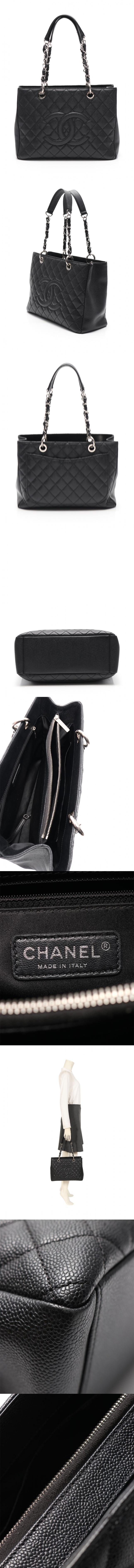 チェーントートバッグ マトラッセ GST グランドショッピング ココマーク 黒 A50995 キャビアスキン シルバー金具