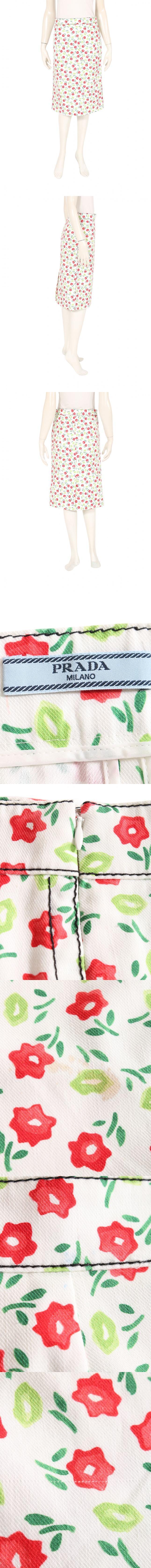 スカート 白 赤 緑 38 ボトムス ひざ丈 タイト 花柄 S コットン