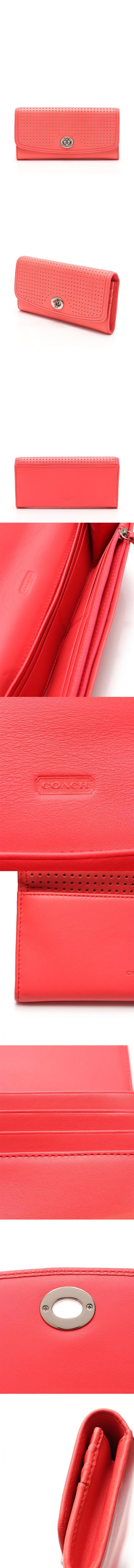 二つ折り長財布 レガシー パーフォレイテッド レザー スリム エンベロープ ピンク 小物 レザー 49059