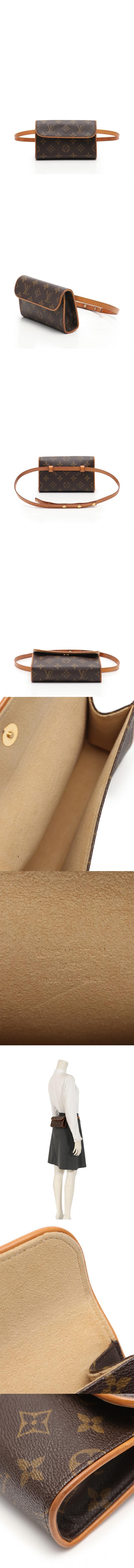 ボディバッグ ウエストポーチ ポシェットフロランティーヌ モノグラム 茶 M51855 PVC レザー ブトンプレッション(XS)付