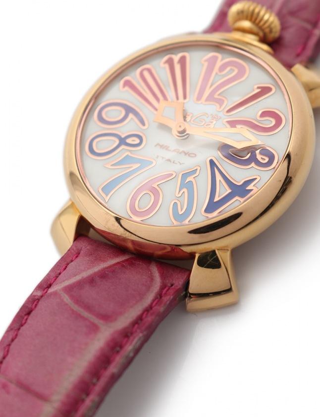 timeless design 86c0c eca52 ガガミラノ GaGa MILANO 腕時計 マヌアーレ40 ボーイズ ゴールド ピンク 紫 マルチカラー 5021.1 GP レザー MANUALE  メンズ レディース