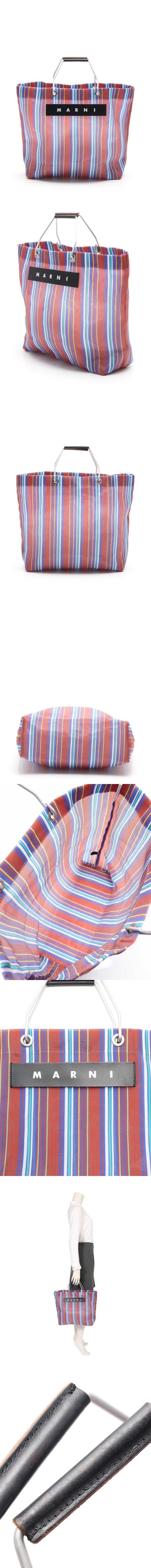トートバッグ フラワーカフェ ストライプ マルチカラー メッシュ レザー FLOWER CAFE