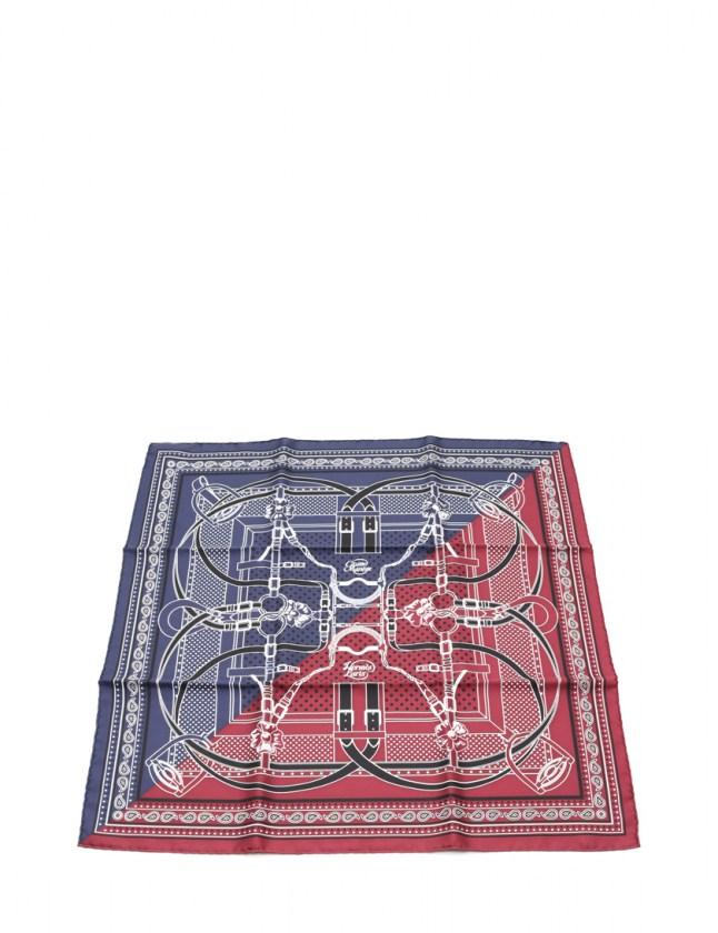 エルメス HERMES バンダナ スカーフ カレ55 スクエア ネイビー ボルドー 小物 総柄 シルク GRAND MANEGE レディース