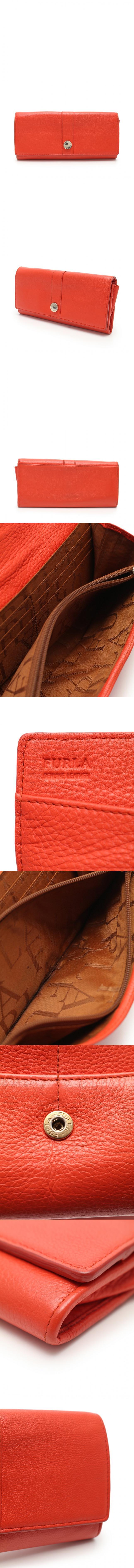 二つ折り長財布 オレンジ 小物 レザー