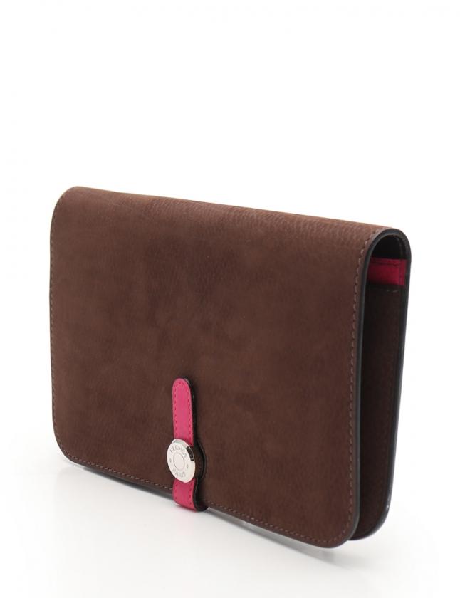 エルメス HERMES 二つ折り財布 ドゴンGM ショコラ ローズショッキング 小物 エヴァーソフト 047211CK-AA □K刻印 レディース