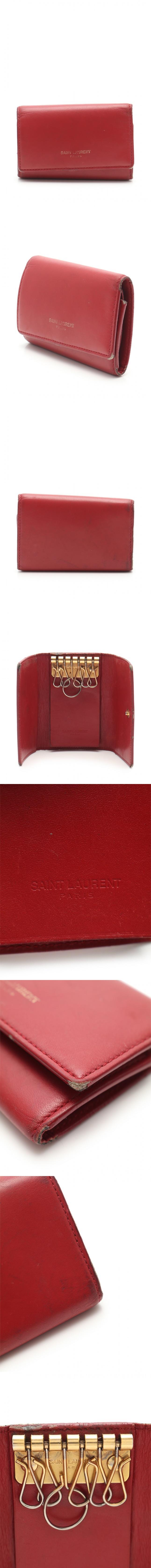 6連キーケース クラシック ボックス 赤 小物 レザー 335582