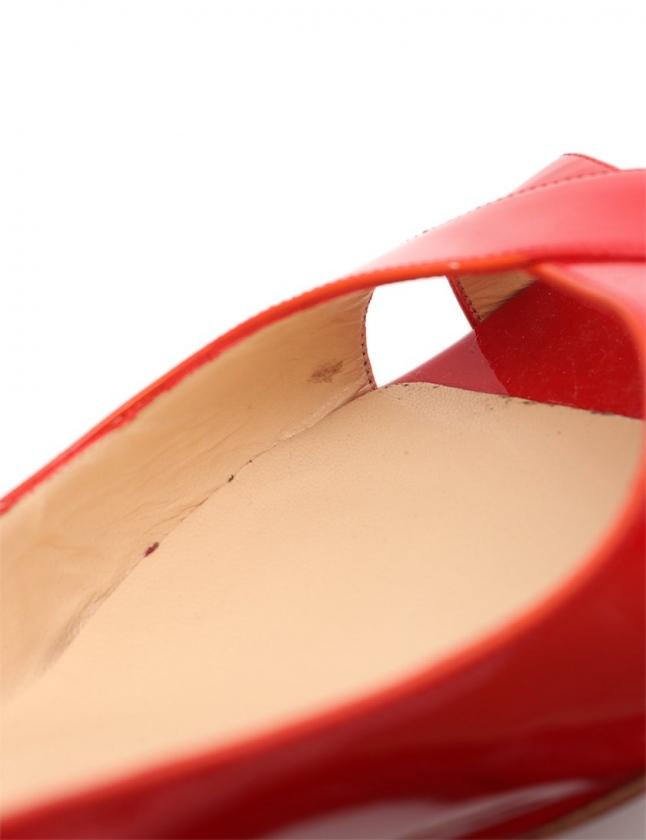 クリスチャンルブタン Christian louboutin オープントゥパンプス ヒール 赤 37 シューズ 24cm エナメルレザー レディース