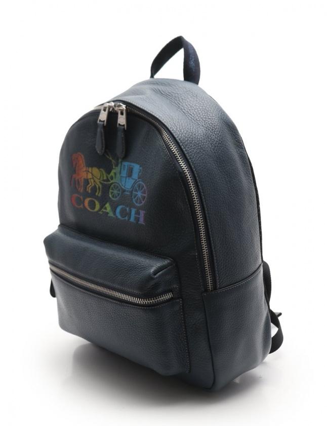 コーチ COACH バックパック リュック レインボー グリッター ロゴ ジェス ミディアム 青 マルチカラー F76772 レザー レディース