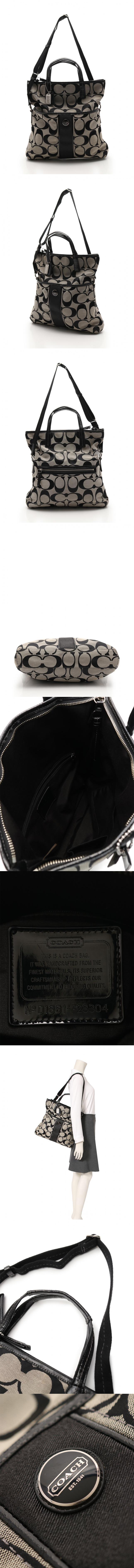 トートバッグ シグネチャーフィールドオーバー グレー 黒 F23304 キャンバス エナメルレザー