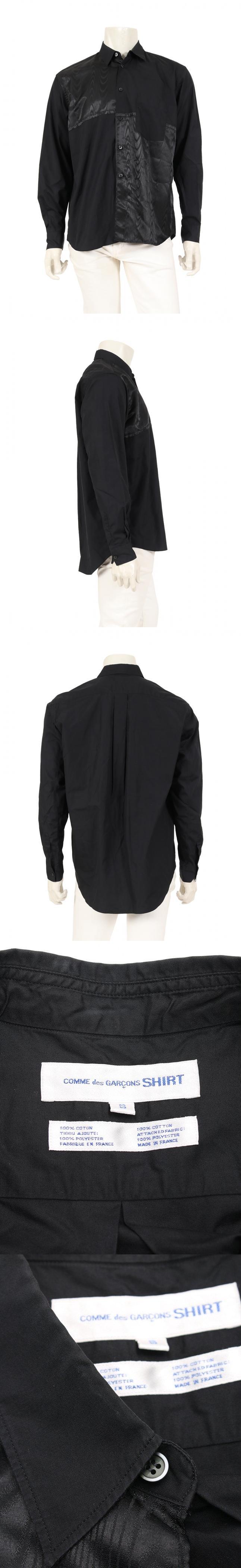 シャツ 黒 S トップス 長袖 コットン 異素材切替