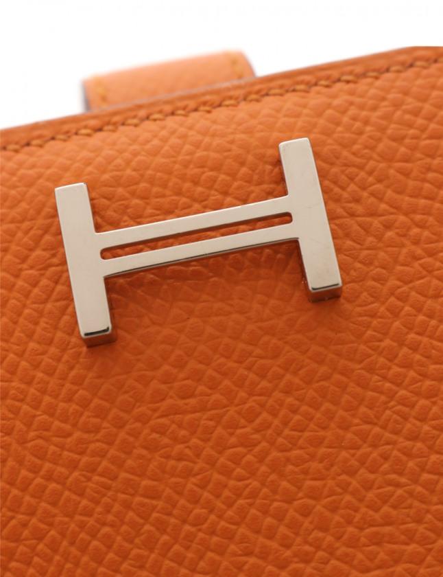 エルメス HERMES 二つ折り長財布 ベアンスフレ ゼラニウム 小物 アリゲーター ゴールド金具 A刻印 レディース