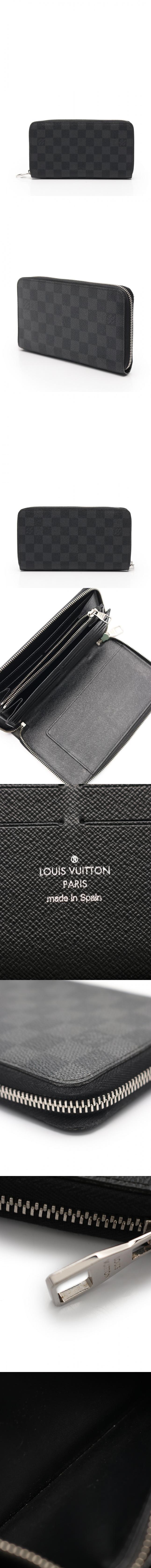 ラウンドファスナー長財布 ジッピーオーガナイザー ダミエグラフィット 黒 小物 PVC N63077
