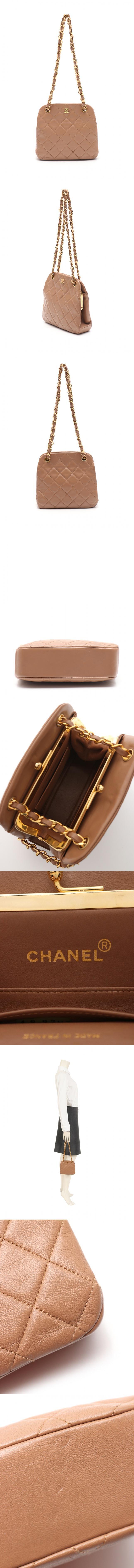 チェーンハンドバッグ ココマーク マトラッセ 茶 レザー がま口 ゴールド金具