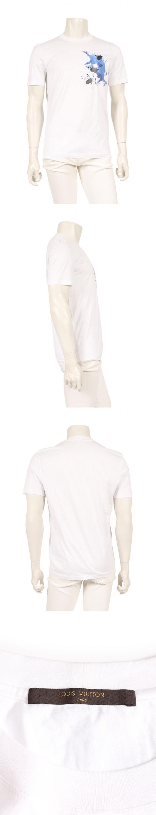 Tシャツ 白 青 黒 S トップス 半袖 プリント コットン フロントペイントデザイン