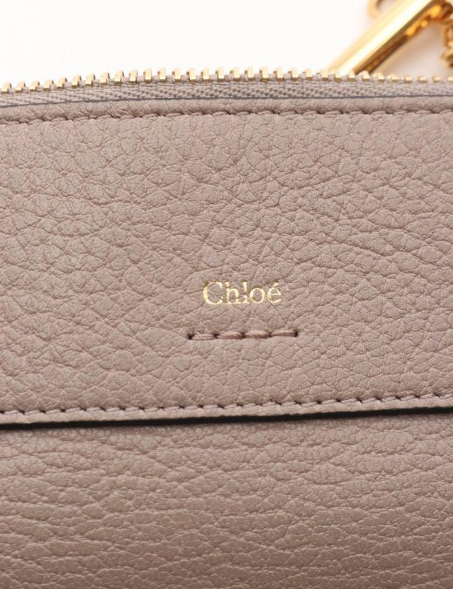 クロエ CHLOE カードケース コインケース グレー 小物 レザー ゴールドブラスチェーン DREW レディース