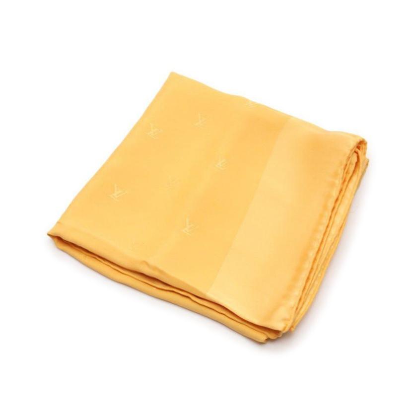 ルイヴィトン LOUIS VUITTON スカーフ ロゴ オレンジ 小物 刺繍 レディース