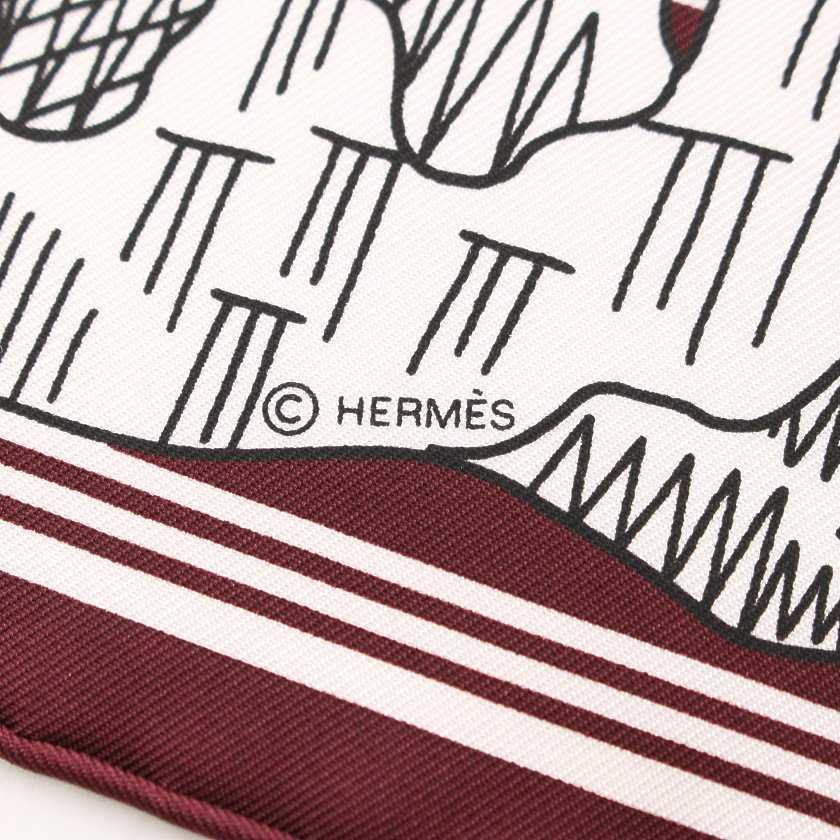 エルメス HERMES バンダナ スカーフ カレ55 ボルドー 白 小物 総柄 シルク Les Canyons Etoiles レディース
