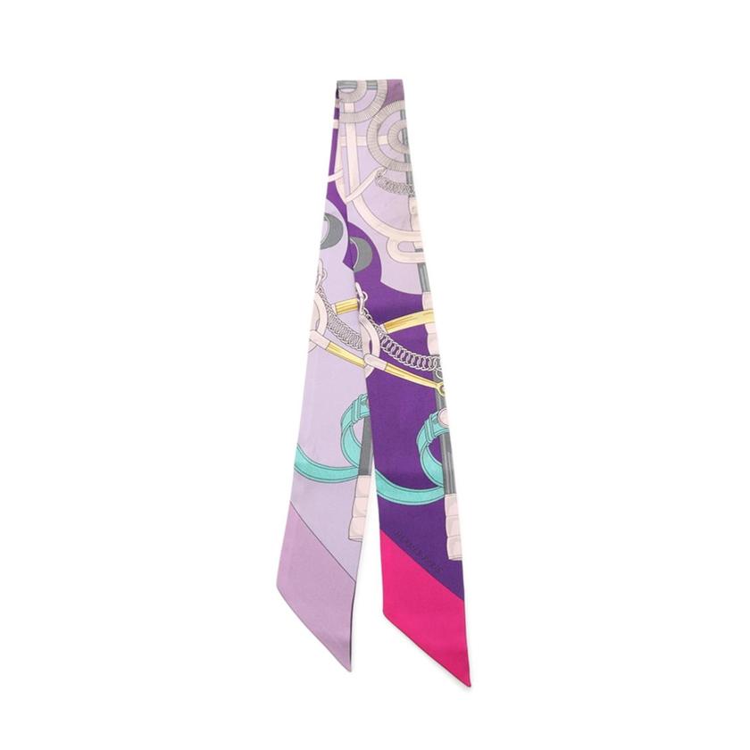 エルメス HERMES リボンスカーフ ツイリー 紫 マルチカラー 小物 総柄 シルク レディース