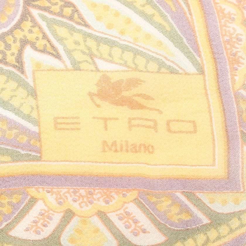 エトロ ETRO ストール スカーフ 黄緑 黄色 小物 総柄 シルク レディース