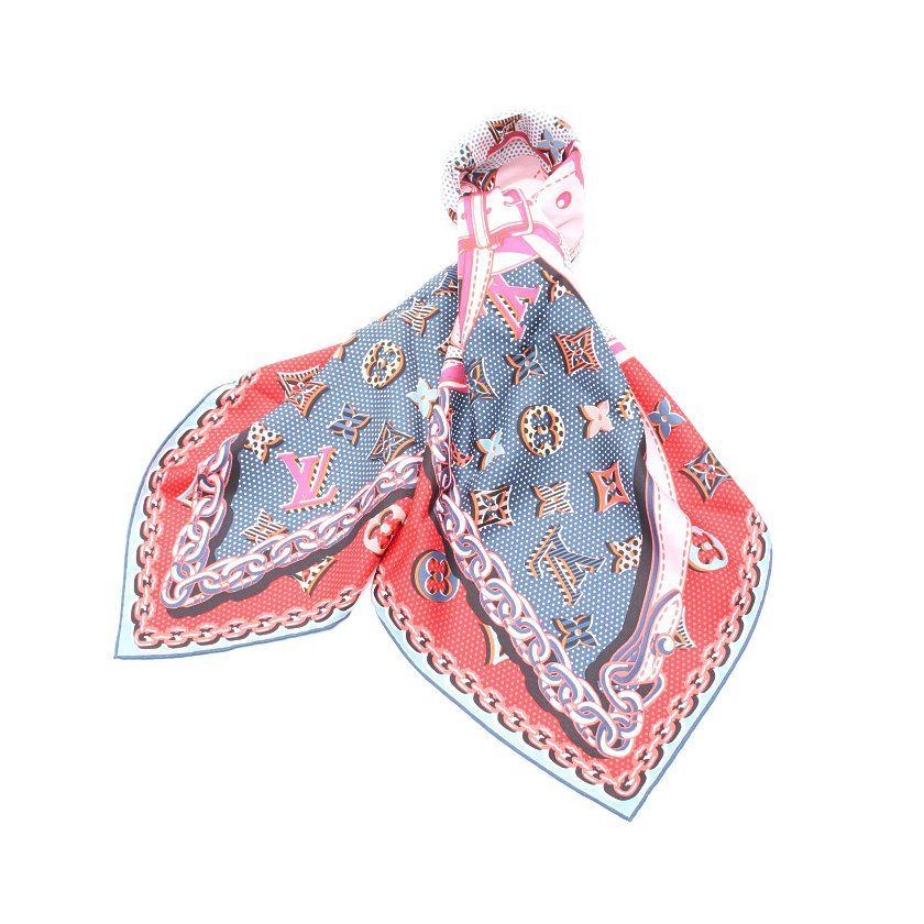 ルイヴィトン LOUIS VUITTON スカーフ スクエア カレ ポップ モノグラム 赤 青 マルチカラー 小物 シルク M70772 レディース