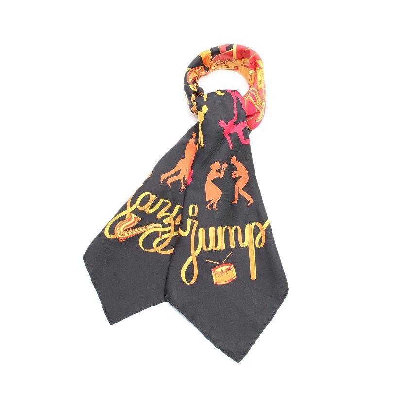 エルメス HERMES スカーフ スクエア カレ90 黒 オレンジ 小物 シルク Boogie Woogie レディース