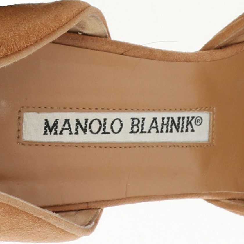 マノロブラニク MANOLO BLAHNIK パンプス ヒール ライトブラウン 37 シューズ スエード リボン レディース