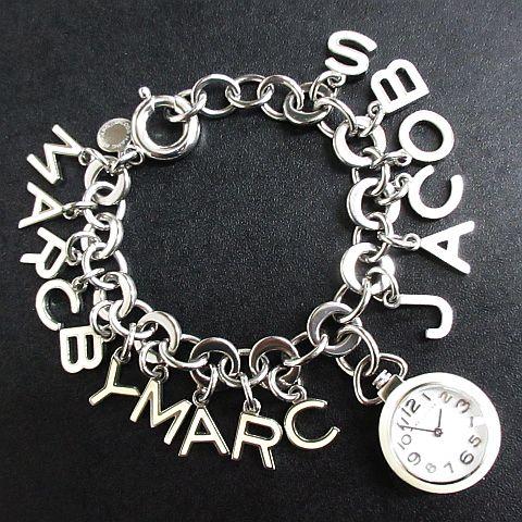 マークバイマークジェイコブス MARC by MARC JACOBS 腕時計 ブレスレット クォーツ MBM6208 チャーム 白×シルバー ◆NK-8696 ◆09 レディース