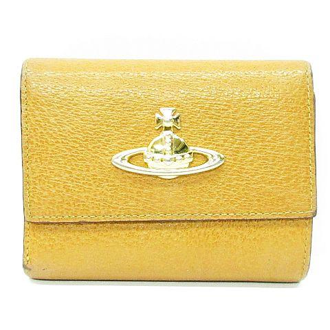 9695cb51a4cf ヴィヴィアンウエストウッド Vivienne Westwood 財布 三つ折り レザー ロゴ オーブ マーク キャメル ※NK-14201 ※01  レディース