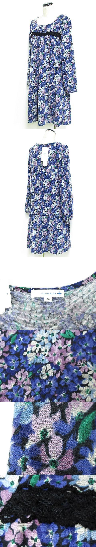 ワンピース ミニ 長袖 ニットソー 花柄 レース タック 青紫 38 ◆NK-16610 ◆01