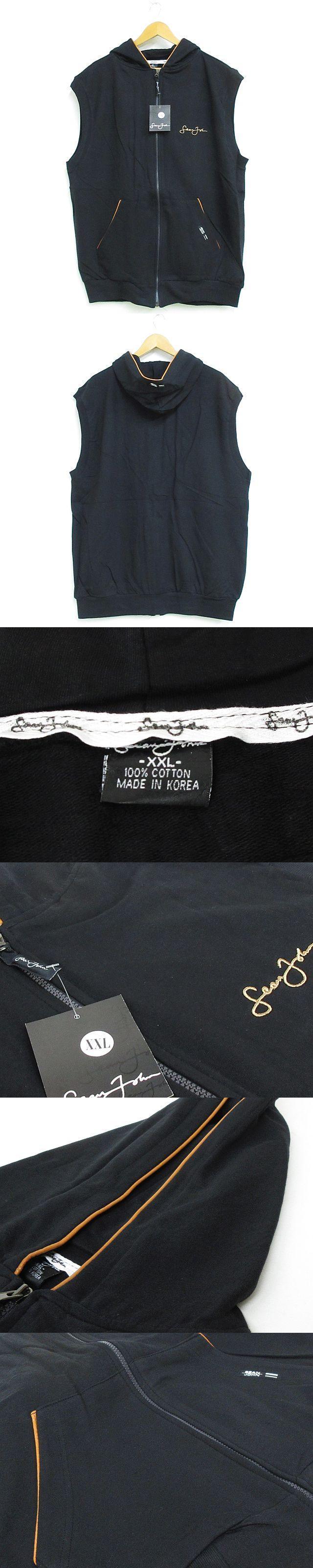 ショーンジョン SEAN JOHN ベスト ジップアップ フード 大きいサイズ ロゴ 黒 XXL ◇MM-15626 ◇02