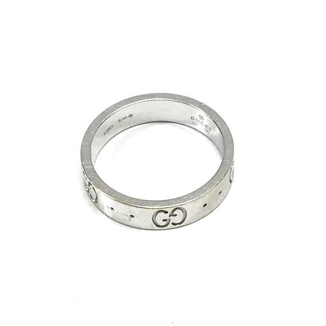7dded9d9c70f グッチ GUCCI GGロゴ アイコンリング 指輪 アクセサリー 8号 K18WG 750 シルバー 銀 SSAW レディース
