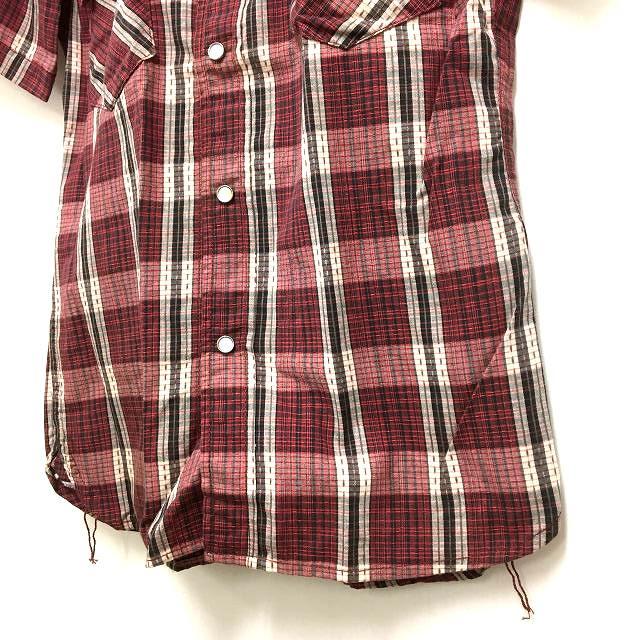ザ フラットヘッド THE FLAT HEAD CW-42H チェック柄 ウエスタンシャツ 半袖 36 レッド 赤 春夏 メンズ