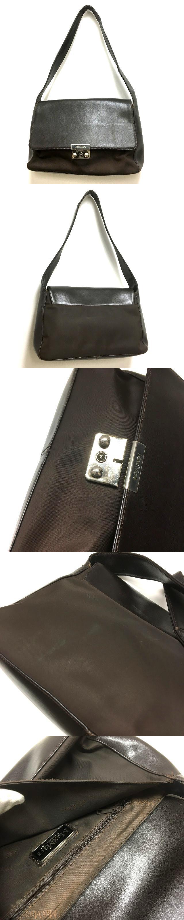 レザー×ナイロン ワンショルダーバッグ 鞄 ダークブラウン 茶 SSAW
