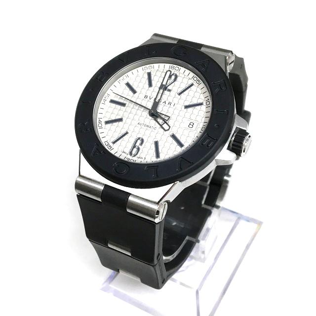 9862e09f80ea ブルガリ BVLGARI ディアゴノ 自動巻き 腕時計 ウォッチ DG40SV デイト ラバー シルバー文字盤 SSAW メンズ