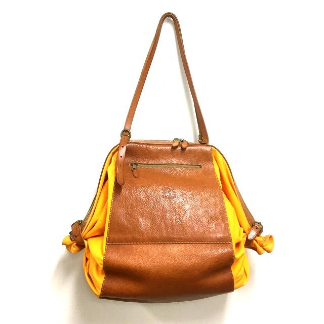 76446354ba1c イルビゾンテ IL BISONTE キャンディバッグ トートバッグ 鞄 レザー×キャンバス ブラウン/オレンジ 橙 茶 SSAW レディース