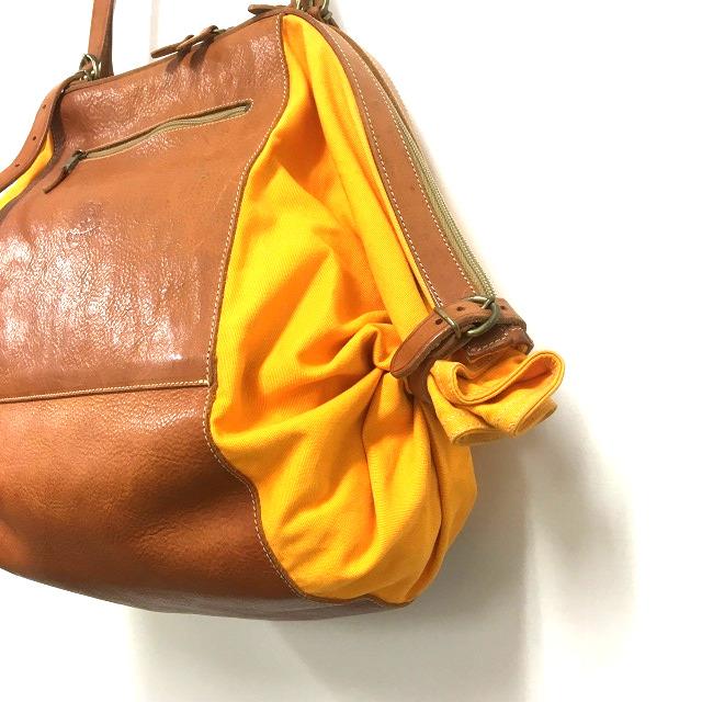 7dfc97e22d23 ... イルビゾンテ IL BISONTE キャンディバッグ トートバッグ 鞄 レザー×キャンバス ブラウン/オレンジ 橙 茶 ...