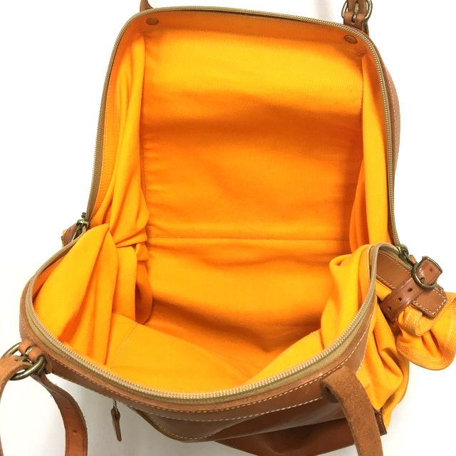 95dd5990d384 イルビゾンテ IL BISONTE キャンディバッグ トートバッグ 鞄 レザー×キャンバス ブラウン/オレンジ 橙 茶 ...